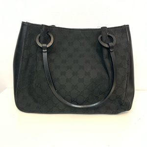 Gucci Bags - GUCCI   Black Monogram Leather Bag & Inner Pouch